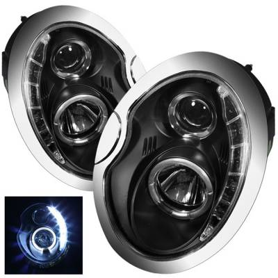 Headlights & Tail Lights - Headlights - Spyder Auto - Mini Cooper Spyder Daytime Running LED Projector Headlights - Black - 444-N350Z02-DRL-C