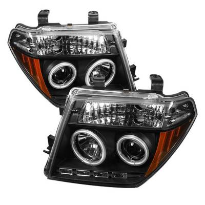 Headlights & Tail Lights - Headlights - Spyder - Nissan Frontier Spyder Projector Headlights - CCFL Halo - LED - Black - 444-NF05-CCFL-BK