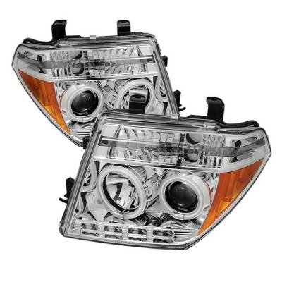 Headlights & Tail Lights - Headlights - Spyder - Nissan Frontier Spyder Projector Headlights - CCFL Halo - LED - Chrome - 444-NF05-CCFL-C