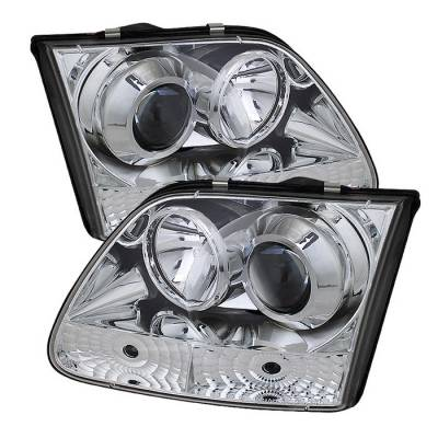 Headlights & Tail Lights - Headlights - Spyder - Nissan Frontier Spyder Projector Headlights - LED Halo - LED - Black - 444-NF05-HL-BK