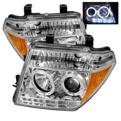 Headlights & Tail Lights - Headlights - Spyder - Nissan Frontier Spyder Projector Headlights - LED Halo - LED - Chrome - 444-NF05-HL-C