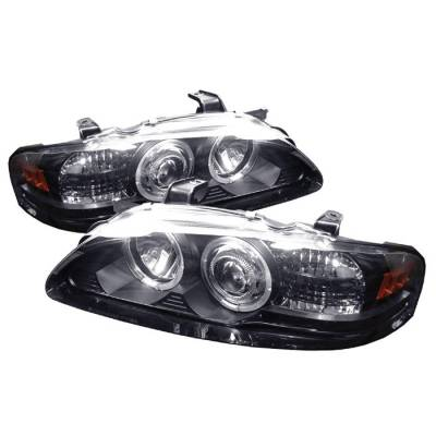 Headlights & Tail Lights - Headlights - Spyder - Nissan Sentra Spyder Projector Headlights - LED Halo - Black - 1PC - 444-NS00-HL-BK