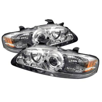 Headlights & Tail Lights - Headlights - Spyder - Nissan Sentra Spyder Projector Headlights - LED Halo - Chrome - 1PC - 444-NS00-HL-C