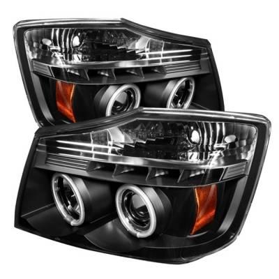 Headlights & Tail Lights - Headlights - Spyder - Nissan Armada Spyder Projector Headlights - CCFL Halo - LED - Black - 444-NTI04-CCFL-BK