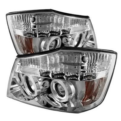 Headlights & Tail Lights - Headlights - Spyder - Nissan Titan Spyder Projector Headlights - CCFL Halo - LED - Chrome - 444-NTI04-CCFL-C