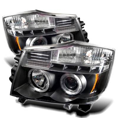Headlights & Tail Lights - Headlights - Spyder - Nissan Titan Spyder Projector Headlights - LED Halo - LED - Black - 444-NTI04-HL-BK