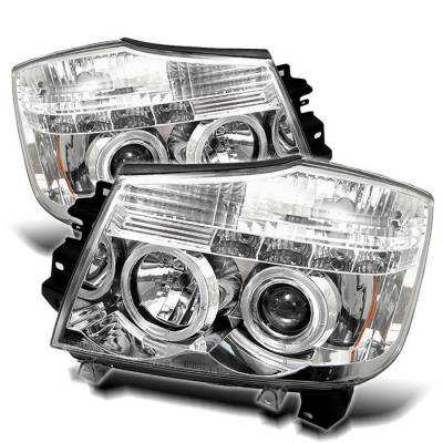 Headlights & Tail Lights - Headlights - Spyder - Nissan Titan Spyder Projector Headlights - LED Halo - LED - Chrome - 444-NTI04-HL-C
