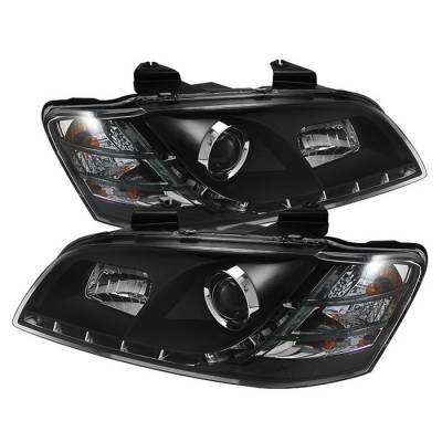 Headlights & Tail Lights - Headlights - Spyder - Pontiac G8 Spyder Projector Headlights - DRL - Black - 444-PG808-DRL-BK
