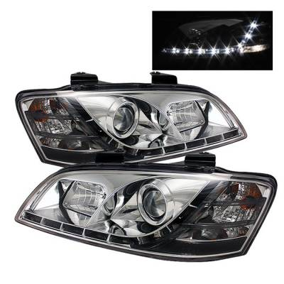 Headlights & Tail Lights - Headlights - Spyder - Pontiac G8 Spyder Projector Headlights - DRL - Chrome - 444-PG808-DRL-C