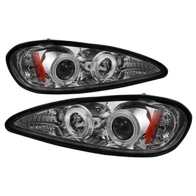 Headlights & Tail Lights - Headlights - Spyder - Pontiac Grand Am Spyder Projector Headlights - CCFL Halo - LED - Chrome - 444-PGAM99-CCFL-C