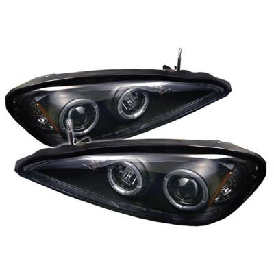 Headlights & Tail Lights - Headlights - Spyder - Pontiac Grand Am Spyder Projector Headlights - LED Halo - LED - Black - 444-PGAM99-HL-BK