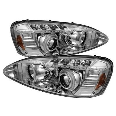 Headlights & Tail Lights - Headlights - Spyder - Pontiac Grand Prix Spyder Projector Headlights - CCFL Halo - LED - Chrome - 444-PGP04-CCFL-C