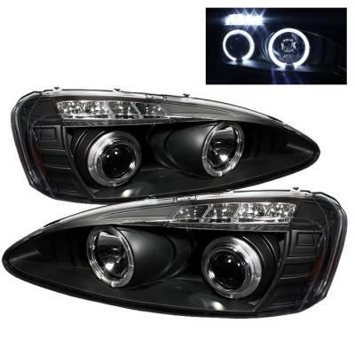 Headlights & Tail Lights - Headlights - Spyder - Pontiac Grand Prix Spyder Projector Headlights - LED Halo - LED - Black - 444-PGP04-HL-BK