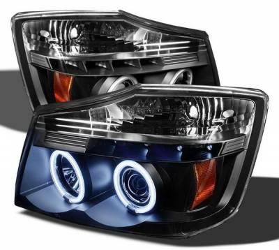 Headlights & Tail Lights - Headlights - Spyder Auto - Nissan Armada Spyder CCFL LED Projector Headlights - Black - 444-PGP97-1PC-CCFL-BK