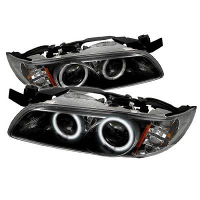 Headlights & Tail Lights - Headlights - Spyder - Pontiac Grand Prix Spyder Projector Headlights - CCFL Halo - Black - 1PC - 444-PGP97-1PC-CCFL-BK