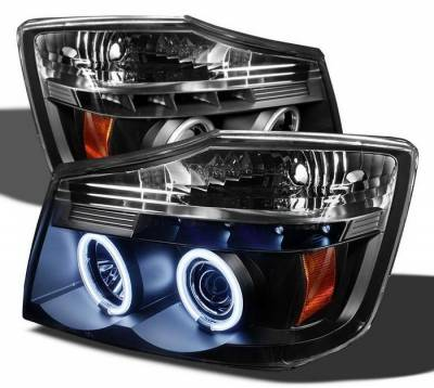 Headlights & Tail Lights - Headlights - Spyder Auto - Nissan Titan Spyder CCFL LED Projector Headlights - Black - 444-PGP97-1PC-CCFL-BK