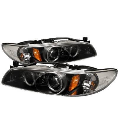 Headlights & Tail Lights - Headlights - Spyder - Pontiac Grand Prix Spyder Projector Headlights - LED Halo - Black - 1PC - 444-PGP97-1PC-HL-BK