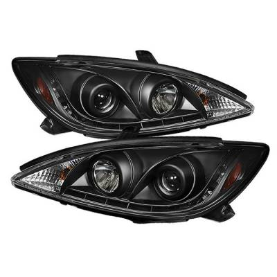 Headlights & Tail Lights - Headlights - Spyder - Toyota Camry Spyder Projector Headlights - DRL LED - Black - 444-TCAM02-DRL-BK