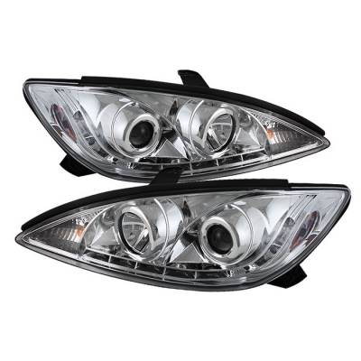 Headlights & Tail Lights - Headlights - Spyder - Toyota Camry Spyder Projector Headlights - DRL LED - Chrome - 444-TCAM02-DRL-C