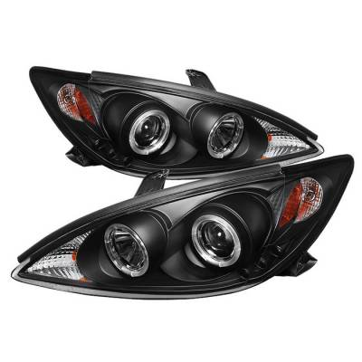 Headlights & Tail Lights - Headlights - Spyder - Toyota Camry Spyder Projector Headlights - LED Halo - LED - Black - 444-TCAM02-HL-BK