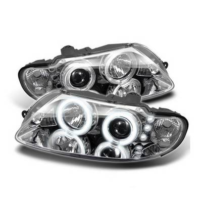 Headlights & Tail Lights - Headlights - Spyder Auto - Pontiac GTO Spyder Halo LED Projector Headlights - Chrome - 444-TCAM02-HL-C