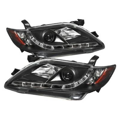 Headlights & Tail Lights - Headlights - Spyder - Toyota Camry Spyder Projector Headlights - DRL LED - Black - 444-TCAM07-DRL-BK
