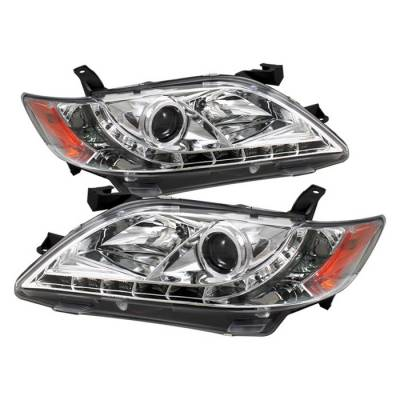 Headlights & Tail Lights - Headlights - Spyder - Toyota Camry Spyder Projector Headlights - DRL LED - Chrome - 444-TCAM07-DRL-C