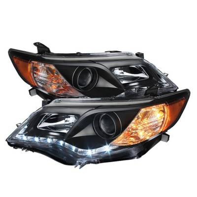 Headlights & Tail Lights - Headlights - Spyder - Toyota Camry Spyder DRL LED Projector Headlights - Black - 444-TCAM12-DRL-BK