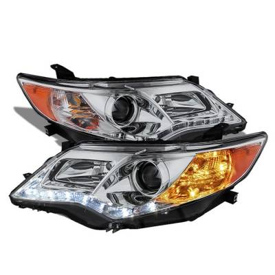 Headlights & Tail Lights - Headlights - Spyder - Toyota Camry Spyder DRL LED Projector Headlights - Chrome - 444-TCAM12-DRL-C