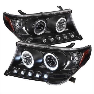 Headlights & Tail Lights - Headlights - Spyder - Toyota Land Cruiser Spyder Projector Headlights - LED Halo - LED - Black - 444-TLAND08-HL-BK