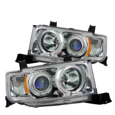 Headlights & Tail Lights - Headlights - Spyder - Scion xB Spyder Projector Headlights - LED Halo - Chrome - 444-TSXB03-HL-C