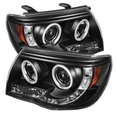 Headlights & Tail Lights - Headlights - Spyder - Toyota Tacoma Spyder Projector Headlights - CCFL Halo - LED - Black - 444-TT05-CCFL-BK