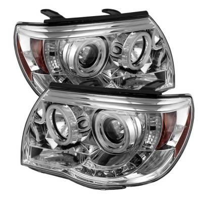 Headlights & Tail Lights - Headlights - Spyder - Toyota Tacoma Spyder Projector Headlights - CCFL Halo - LED - Chrome - 444-TT05-CCFL-C