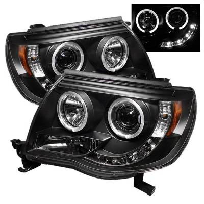 Headlights & Tail Lights - Headlights - Spyder - Toyota Tacoma Spyder Projector Headlights - LED Halo - LED - Black - 444-TT05-HL-BK
