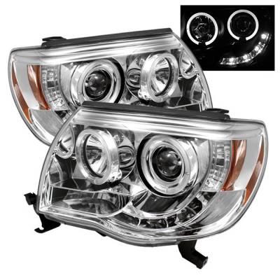Headlights & Tail Lights - Headlights - Spyder - Toyota Tacoma Spyder Projector Headlights - LED Halo - LED - Chrome - 444-TT05-HL-C
