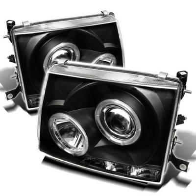 Headlights & Tail Lights - Headlights - Spyder - Toyota Tacoma Spyder Projector Headlights - LED Halo - LED - Black - 444-TT97-HL-BK