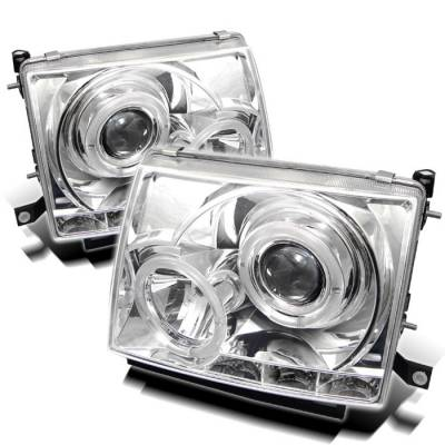 Headlights & Tail Lights - Headlights - Spyder - Toyota Tacoma Spyder Projector Headlights - LED Halo - LED - Chrome - 444-TT97-HL-C