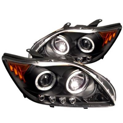 Headlights & Tail Lights - Headlights - Spyder - Scion tC Spyder Projector Headlights - LED Halo - Replaceable LEDs - Black - 444-TTC04-HL-AM-BK