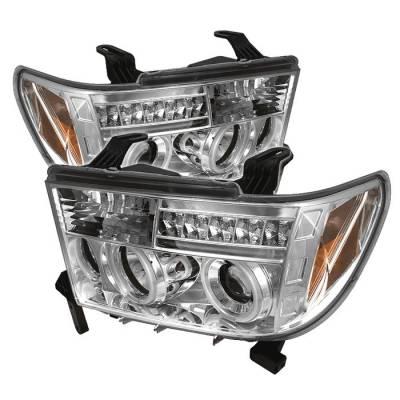 Headlights & Tail Lights - Headlights - Spyder - Toyota Sequoia Spyder Projector Headlights - CCFL Halo - LED - Chrome - 444-TTU07-CCFL-C