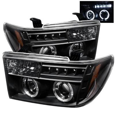 Headlights & Tail Lights - Headlights - Spyder - Toyota Sequoia Spyder Projector Headlights - LED Halo - LED - Black - 444-TTU07-HL-BK