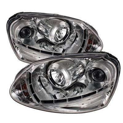 Headlights & Tail Lights - Headlights - Spyder - Volkswagen Golf GTI Spyder Projector Headlights DRL LED - Chrome - 444-VG06-DRL-C