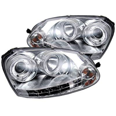 Headlights & Tail Lights - Headlights - Spyder - Volkswagen Golf GTI Spyder Projector Headlights LED Halo - DRL LED - Chrome - 444-VG06-HL-C