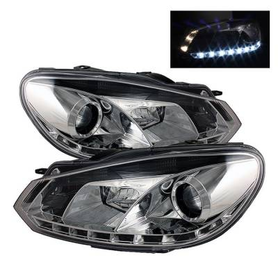 Headlights & Tail Lights - Headlights - Spyder - Volkswagen Golf GTI Spyder Projector Headlights DRL LED - Chrome - 444-VG10-DRL-C