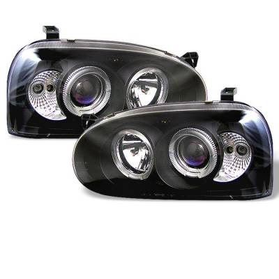 Headlights & Tail Lights - Headlights - Spyder - Volkswagen Golf Spyder Projector Headlights - LED Halo - Black - 444-VG92-BK