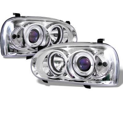 Headlights & Tail Lights - Headlights - Spyder - Volkswagen Golf Spyder Projector Headlights - LED Halo - Chtome - 444-VG92-C