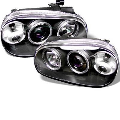 Headlights & Tail Lights - Headlights - Spyder - Volkswagen Golf Spyder Projector Headlights - LED Halo - Black - 444-VG99-BK