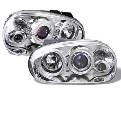 Headlights & Tail Lights - Headlights - Spyder - Volkswagen Golf Spyder Projector Headlights - LED Halo - Chrome - 444-VG99-C