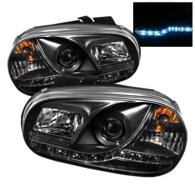 Headlights & Tail Lights - Headlights - Spyder - Volkswagen Golf Spyder Projector Headlights - DRL LED - Black - 444-VG99-DRL-BK