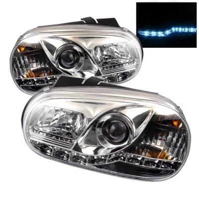 Headlights & Tail Lights - Headlights - Spyder - Volkswagen Golf Spyder Projector Headlights - DRL LED - Chrome - 444-VG99-DRL-C