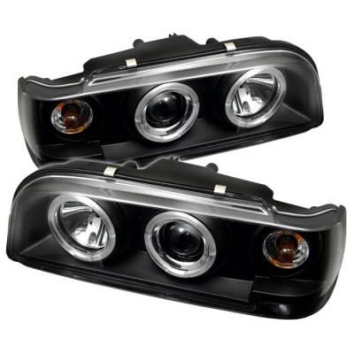 Headlights & Tail Lights - Headlights - Spyder - Volvo 850 Spyder Projector Headlights - LED Halo - Black - 444-VO85092-HL-BK